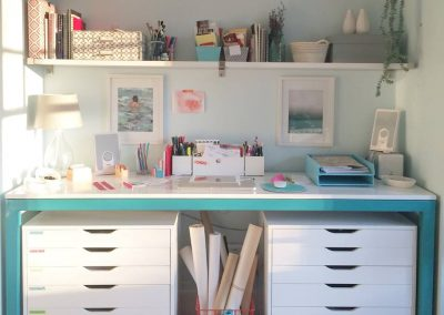 Custom Desk Fabricated _ Powder coated (white _ teal)