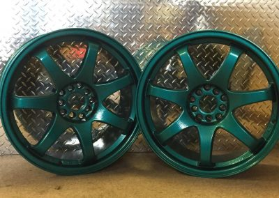 Sandblasted and Powdercoated car rims